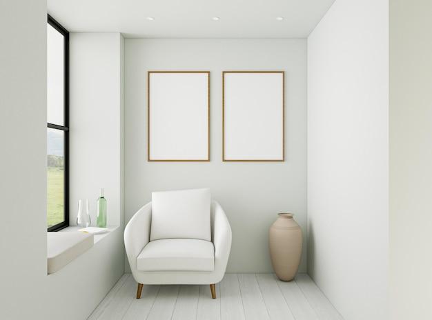 Interior minimalista con sillón elegante. Foto Premium