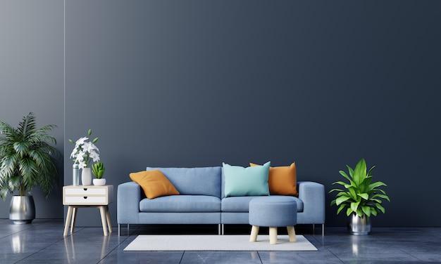 Interior de la moderna sala de estar con sofá y plantas verdes, lámpara, mesa sobre fondo de pared oscura. Foto gratis