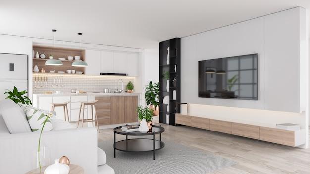 Interior moderno de la sala de estar y cocina de mediados de siglo Foto Premium