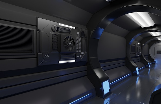 Interior de la nave espacial futurista de renderizado 3d con gran túnel Foto Premium
