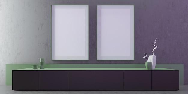 Interior de la sala de estar de lujo moderno con pared gris y piso, marco de vista frontal 2 simulacro de cartel vertical, mesa de tv, pared pequeña verde, arte, decoración, mínimo. ilustración 3d. Foto Premium
