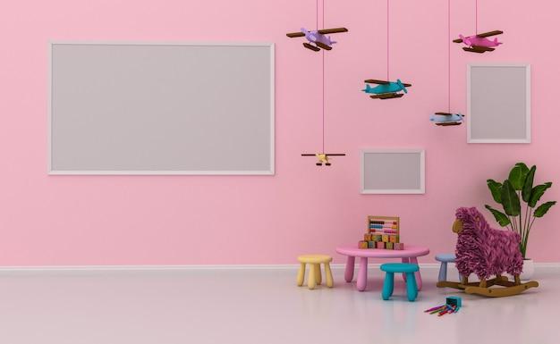 Interior de la sala de niños con linda decoración y marcos de fotos en blanco en la pared. renderizado 3d Foto Premium