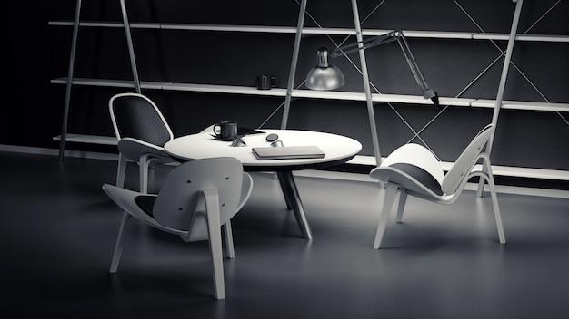 El interior de la sala tenuemente iluminada con tres sillas y una mesa está hecha en un estilo moderno de negocios. Foto Premium