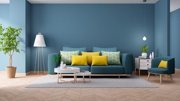 Interior vintage moderno de la sala de estar, concepto de decoración del hogar blueprint, sofá verde con mesa de mármol en la pared azul y pisos de madera, render 3d Foto Premium