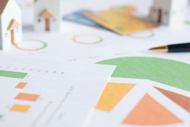 Inversión inmobiliaria, casas blancas en miniatura con tarjetas de crédito y documentos financieros sobre la mesa Foto Premium