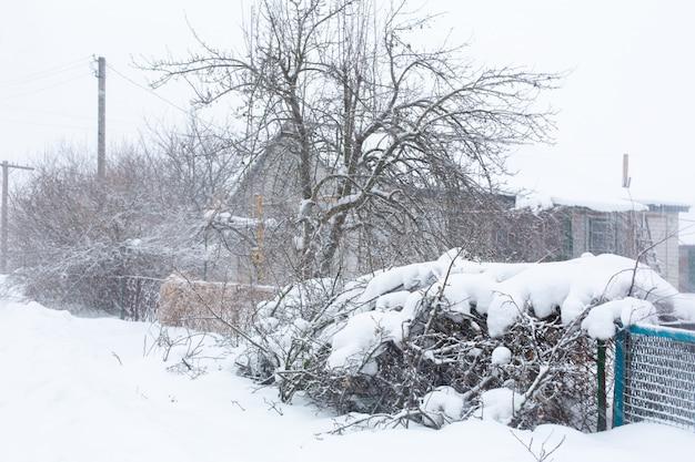 Invierno, las calles rurales están cubiertas de nieve, ventisca de nieve. Foto Premium