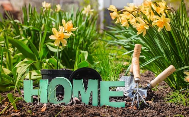 Jardinería, hermosas flores de primavera con suministros de jardín. Foto gratis
