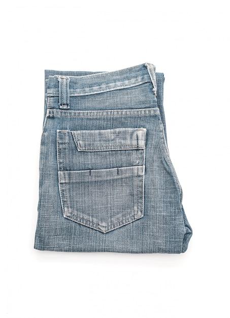 Jeans Doblados Sobre Fondo Blanco Foto Premium
