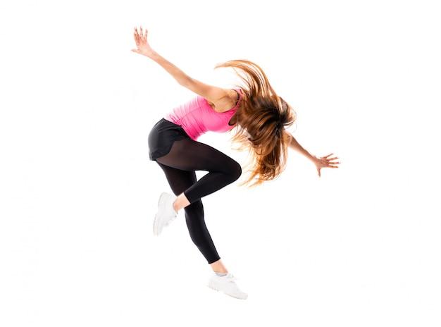Joven bailarina sobre salto blanco aislado Foto Premium