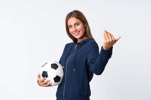 Joven futbolista mujer Foto Premium