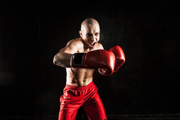 El joven kickboxing en negro Foto gratis