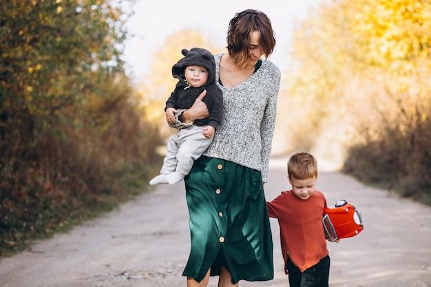 Joven madre con dos hijos caminando en el parque Foto gratis