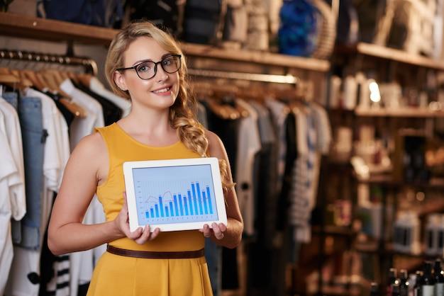 Joven mujer caucásica de pie en la tienda boutique y mostrando tableta con gráfico de negocios Foto gratis