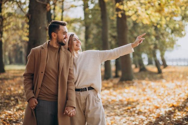 Joven pareja junto en un parque de otoño Foto gratis