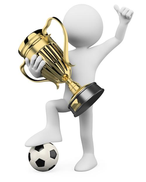 Jugador de fútbol 3d: campeón mundial Foto Premium