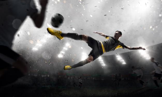Jugador de fútbol en movimiento Foto Premium