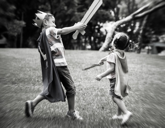 Jugar a fight sword siblings concept Foto gratis