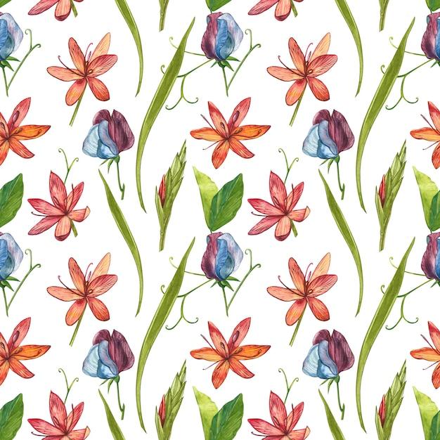 Kafir lirios flores acuarela ilustración. patrones sin fisuras Foto Premium