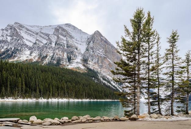 Lake louise en vista de la mañana en el parque nacional banff, alberta, canadá Foto Premium