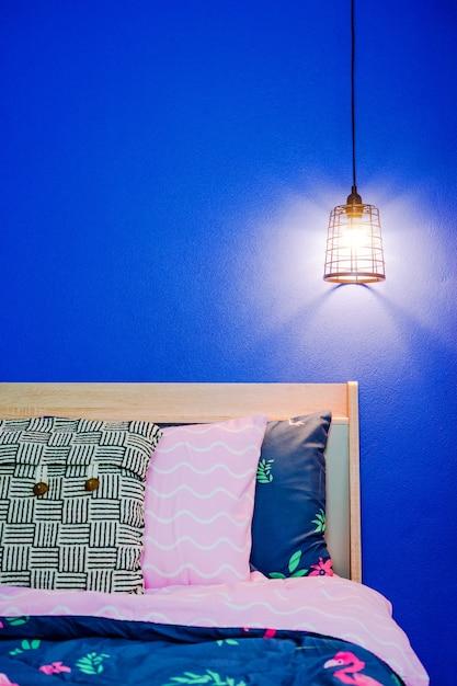 del dormitorio de azul techo la vintage en Lámpara pared 8wn0mvNO
