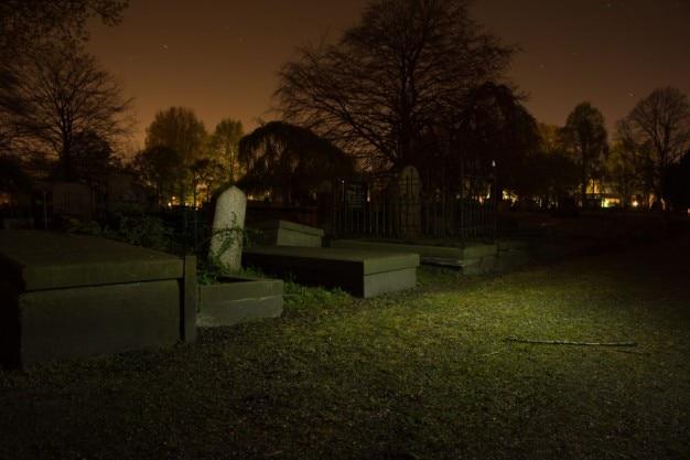 Lápidas solitarias en la noche Foto Gratis