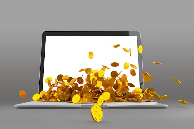 Laptop con una cantidad de monedas Foto Premium