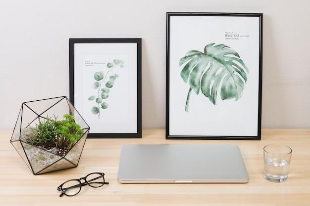 Laptop con fotos y planta sobre mesa. Foto gratis