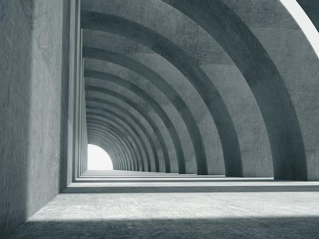 Largo corredor de hormigón. Foto Premium