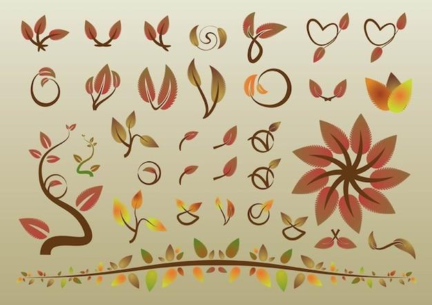 las hojas de otoño vectores