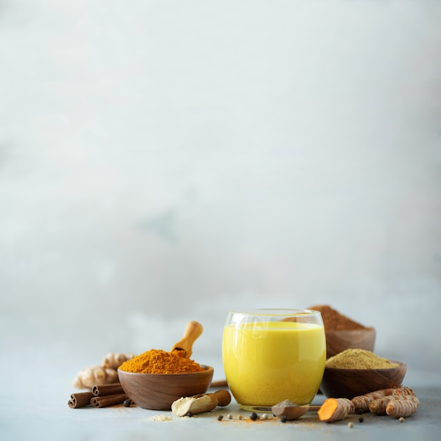 Latte de cúrcuma vegana saludable o leche dorada, raíz de cúrcuma, jengibre en polvo, pimienta negra sobre fondo de hormigón gris. Foto Premium