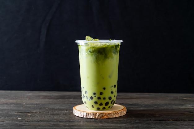 Latte de té verde con burbuja Foto Premium
