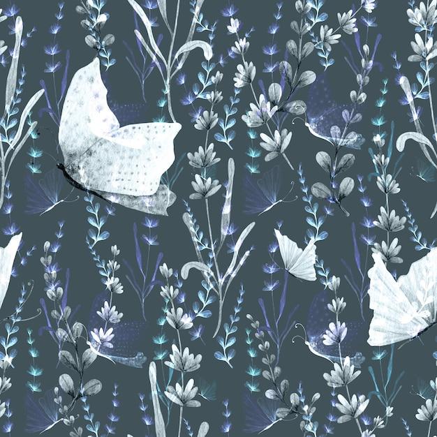 Lavanda y mariposa acuarela pintada a mano de patrones sin fisuras. Foto Premium