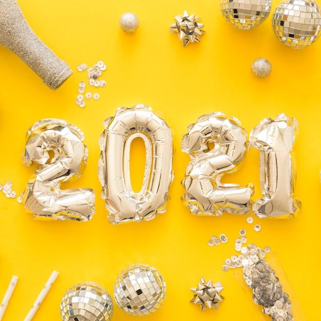 Lay flat del hermoso concepto de año nuevo Foto gratis