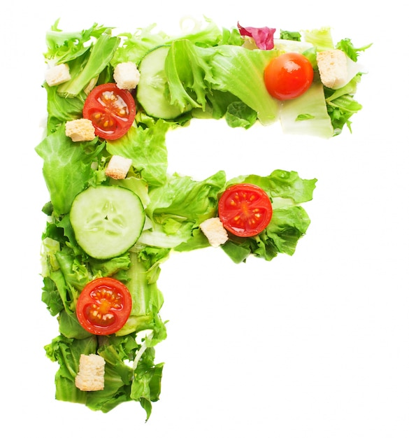 Letra f apetitosa hecha con verduras orgánicas Foto gratis