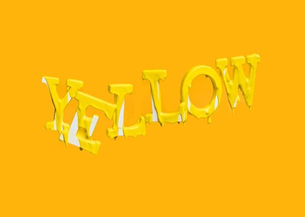 Letras flotando formando la palabra yellow con pintura cayendo Foto gratis