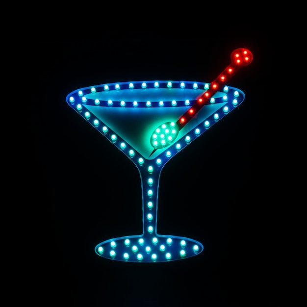 Letrero de neón en bar con imagen de cóctel. Foto gratis