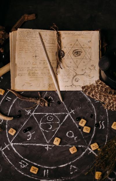 Libro antiguo abierto con hechizos mágicos, runas, velas negras en la mesa de brujas. concepto oculto, esotérico, adivinación y wicca. escena de halloween Foto Premium