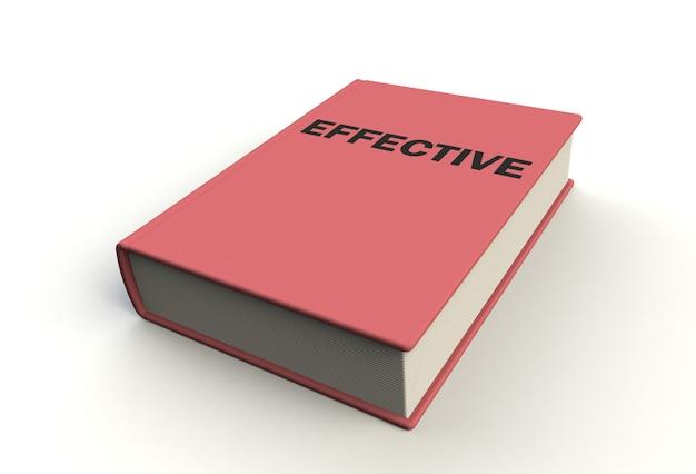 Libro efectivo sobre fondo blanco, renderizado 3d Foto Premium