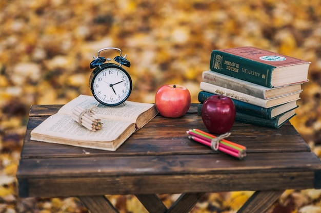 Libros antiguos manzanas hojas ca das l pices relojes - Libros antiguos para decoracion ...