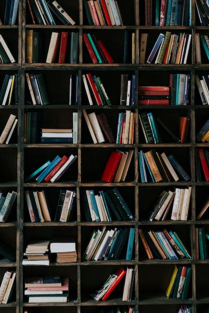 Libros en estantería Foto Premium