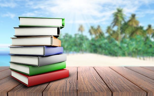 Libros en la playa Foto gratis