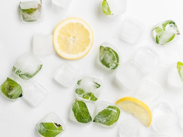 Limones y hojas en cubitos de hielo. Foto gratis