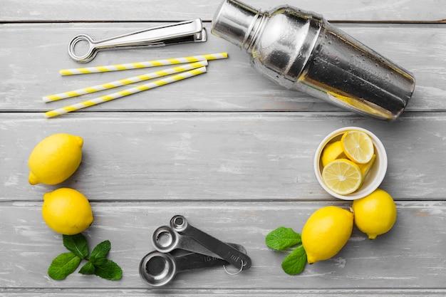 Limones con menta y agitador Foto gratis