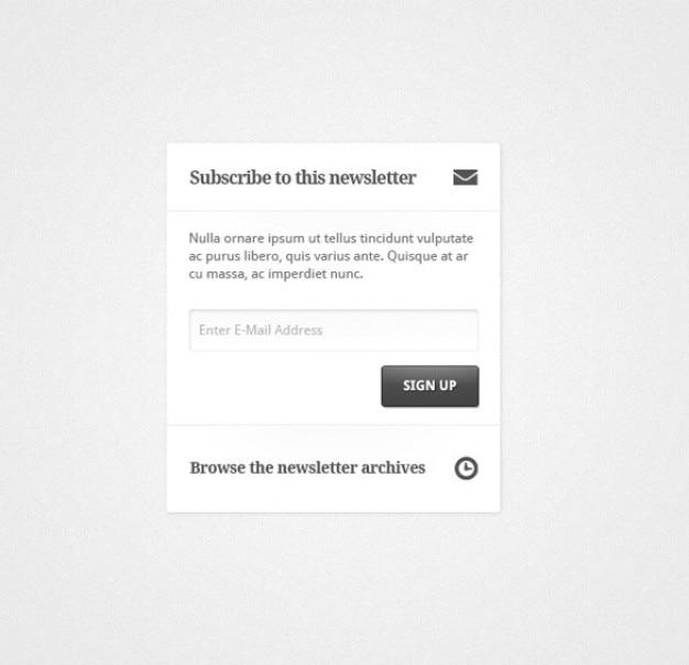 limpio estilo boletín registro widget de psd