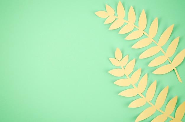 Lindas hojas largas con fondo de espacio de copia verde Foto gratis
