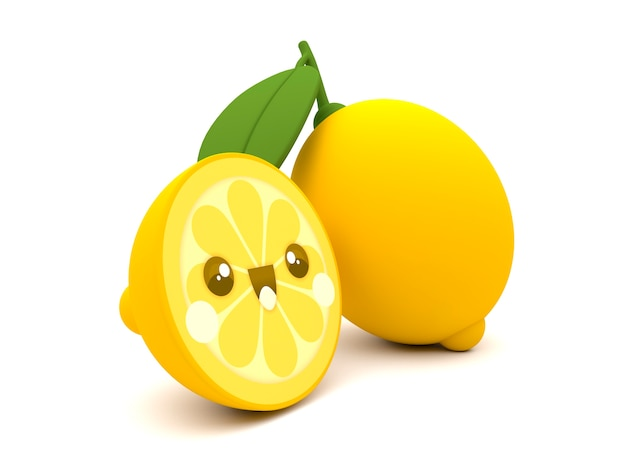Lindo Y Feliz Fruta De Limon Amarillo Kawaii Personaje De Dibujos
