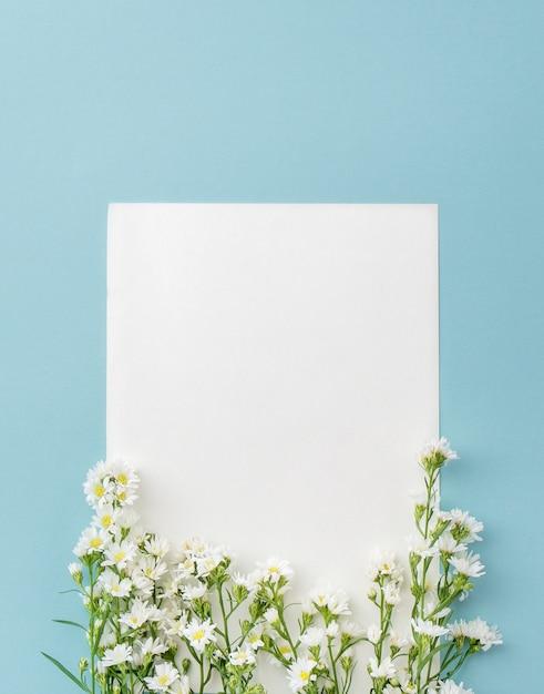 Lindo pequeño cortador blanco flores sobre fondo azul claro con ...