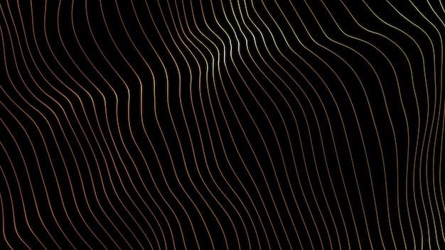 Líneas de fondo. línea abstracta. patrón de rayas, elemento de neón curva. telón de fondo dinámico. portada de presentación color dorado Foto Premium