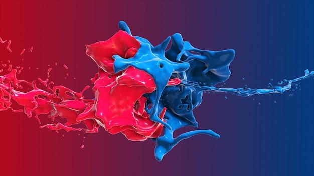 Líquido abstracto rojo y azul choca en una ilustración 3d splash Foto Premium