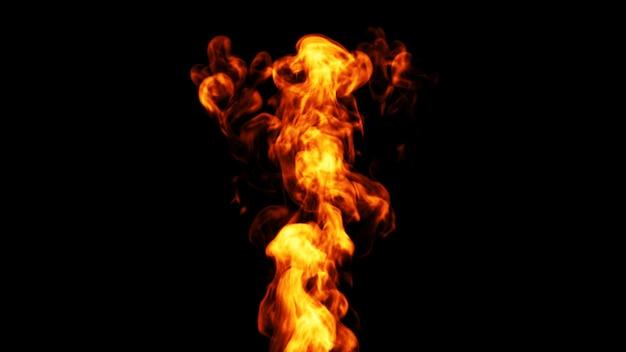 Llama de fuego dinámica. 3d. Foto Premium